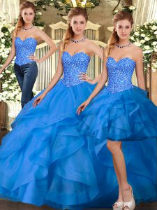 Sophisticated Floor Length Lace Up Vestidos de Quinceanera Blue for Military Ball and Sweet 16 and Quinceanera with Beading and Ruffles