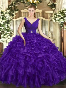 Purple Backless V-neck Beading and Ruffles Sweet 16 Dresses Organza Sleeveless