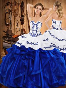Strapless Sleeveless Satin and Organza Quinceanera Gowns Embroidery and Ruffles Lace Up