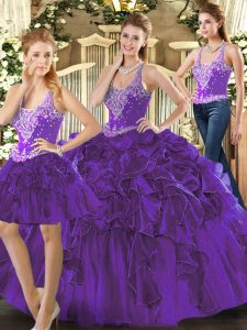 Low Price Straps Sleeveless Tulle Sweet 16 Dress Beading and Ruffles Lace Up