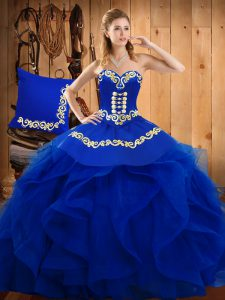 High Class Blue Sweetheart Lace Up Embroidery and Ruffles Quinceanera Gown Sleeveless