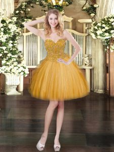 On Sale Gold Ball Gowns Beading and Ruffles Prom Party Dress Lace Up Lace Sleeveless Mini Length