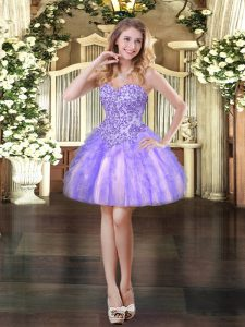 Fitting Tulle Sleeveless Mini Length Prom Dress and Appliques and Ruffles
