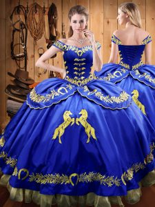 Nice Royal Blue Sleeveless Satin and Organza Lace Up Quinceanera Dress for Sweet 16 and Quinceanera