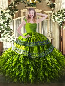 Organza Straps Sleeveless Zipper Beading and Ruffles Quinceanera Dress in Olive Green