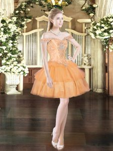 Fitting Orange Red Organza Lace Up Off The Shoulder Sleeveless Mini Length Homecoming Dress Beading and Ruffled Layers
