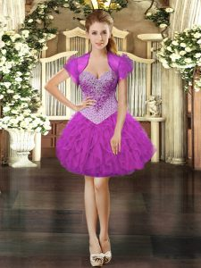 Mini Length Lace Up Prom Evening Gown Fuchsia for Prom and Party with Beading and Ruffles