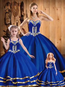 Exceptional Sweetheart Sleeveless Tulle Sweet 16 Dress Embroidery Lace Up