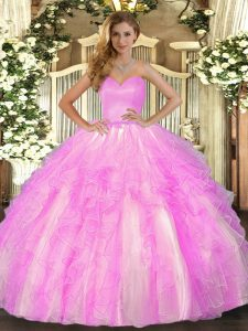 Fantastic Lilac Sleeveless Organza Lace Up Sweet 16 Dress for Military Ball and Sweet 16 and Quinceanera