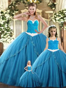 Fitting Sleeveless Tulle Floor Length Lace Up Vestidos de Quinceanera in Teal with Ruching