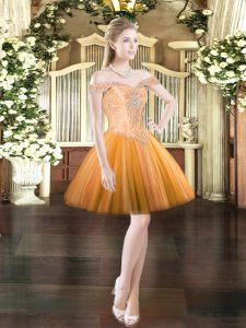 Extravagant Orange Red Tulle Lace Up Off The Shoulder Sleeveless Mini Length Beading