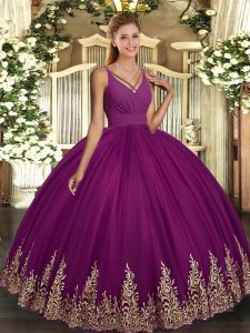 Edgy Sleeveless Beading and Appliques Backless Quince Ball Gowns