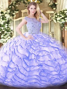 Lavender Tulle Zipper Bateau Sleeveless 15th Birthday Dress Sweep Train Beading and Ruffled Layers