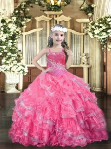 Charming Hot Pink Lace Up Pageant Dress Toddler Beading and Ruffled Layers Sleeveless Floor Length