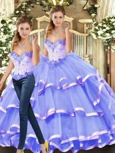 Inexpensive Lavender Ball Gowns Beading and Ruffled Layers Quinceanera Dresses Lace Up Tulle Sleeveless Floor Length