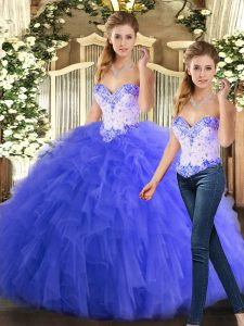 High Quality Beading and Ruffles Quince Ball Gowns Blue Lace Up Sleeveless Floor Length