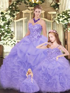 Excellent Ball Gowns Sweet 16 Dress Lavender Sweetheart Organza Sleeveless Floor Length Lace Up