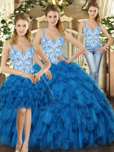 Fashion Sleeveless Beading and Ruffles Lace Up Quinceanera Dresses
