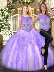 Fashionable Lilac Sleeveless Tulle Zipper Sweet 16 Dress for Military Ball and Sweet 16 and Quinceanera