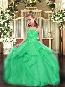 Sleeveless Beading and Ruffles Lace Up Little Girl Pageant Gowns