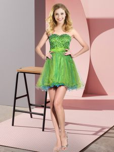 Modern Multi-color Empire Sweetheart Sleeveless Tulle Mini Length Lace Up Beading and Sequins Quinceanera Court Dresses