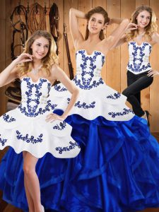 Blue Strapless Neckline Embroidery and Ruffles Quince Ball Gowns Sleeveless Lace Up