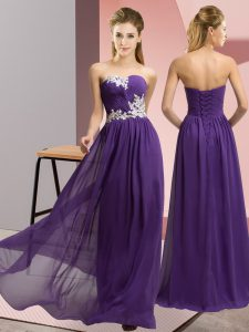 Purple Chiffon Lace Up Sweetheart Sleeveless Floor Length Prom Gown Appliques