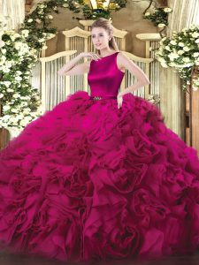 Amazing Fuchsia Scoop Clasp Handle Belt Sweet 16 Quinceanera Dress Sleeveless