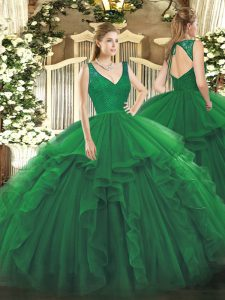 Unique Beading and Lace and Ruffles 15 Quinceanera Dress Dark Green Backless Sleeveless Floor Length