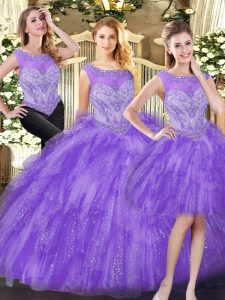 Scoop Sleeveless Lace Up Quinceanera Dress Eggplant Purple Organza