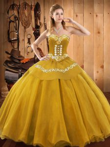Floor Length Gold Quinceanera Dress Satin and Tulle Sleeveless Embroidery