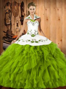 Halter Top Sleeveless Satin and Organza Quince Ball Gowns Embroidery and Ruffles Lace Up