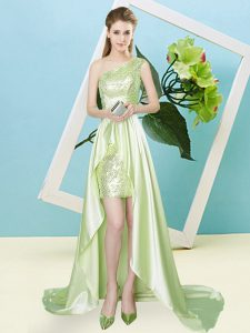 Fitting Yellow Green Prom Party Dress Prom and Party with Sequins One Shoulder Sleeveless Lace Up