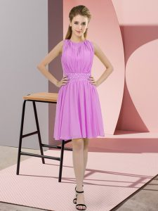 Knee Length Lilac Dama Dress Chiffon Sleeveless Sequins