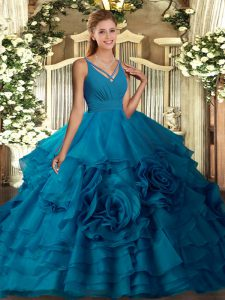 Sleeveless Floor Length Ruffles Backless Sweet 16 Dresses with Blue