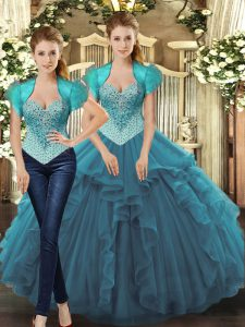 Teal Quince Ball Gowns Sweet 16 and Quinceanera with Beading and Ruffles Straps Sleeveless Lace Up