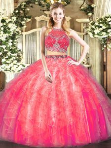 Sleeveless Zipper Floor Length Beading and Ruffles Quinceanera Gowns