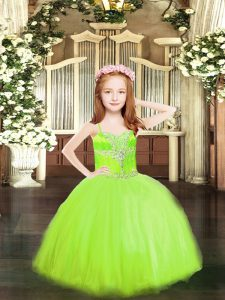 Yellow Green Spaghetti Straps Neckline Beading Pageant Dress for Teens Sleeveless Lace Up