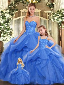 Blue Sleeveless Beading and Ruffles Floor Length Quinceanera Gowns
