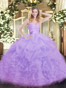 Floor Length Lavender Quince Ball Gowns Organza Sleeveless Beading and Ruffles