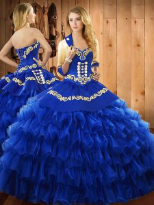 Sumptuous Sleeveless Lace Up Floor Length Embroidery and Ruffled Layers Sweet 16 Quinceanera Dress