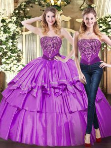 Fancy Floor Length Eggplant Purple Sweet 16 Dress Tulle Sleeveless Beading and Ruffled Layers