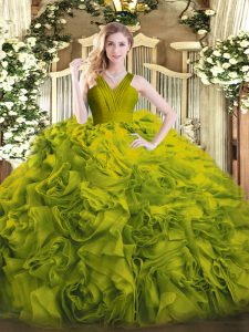 Olive Green Ball Gowns Ruffles 15th Birthday Dress Zipper Fabric With Rolling Flowers Sleeveless Floor Length