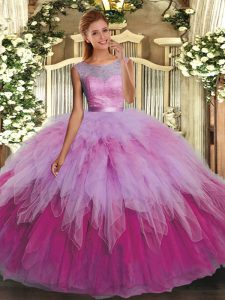 Multi-color Backless Scoop Beading and Ruffles Sweet 16 Dresses Organza Sleeveless
