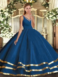 Blue Ball Gowns Ruching Quince Ball Gowns Backless Tulle Sleeveless Floor Length