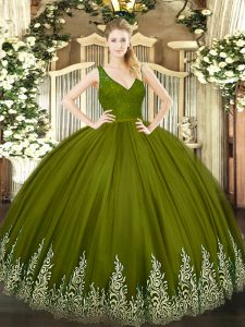 Olive Green Tulle Backless V-neck Sleeveless Floor Length Vestidos de Quinceanera Beading and Lace and Appliques
