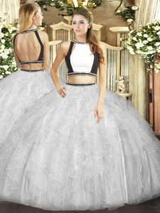 New Arrival Halter Top Sleeveless Tulle Quinceanera Gown Ruffles Backless