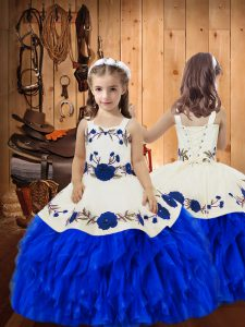 Elegant Sleeveless Embroidery and Ruffles Lace Up Kids Formal Wear