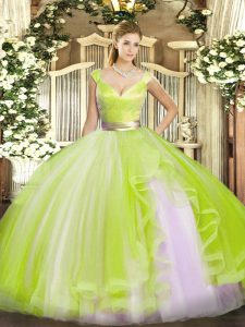 Exceptional Tulle V-neck Sleeveless Zipper Beading and Ruffles Vestidos de Quinceanera in Yellow Green