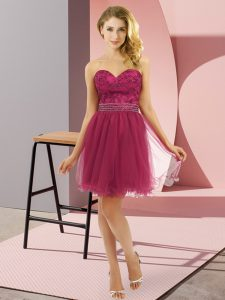 Sleeveless Mini Length Beading Zipper Homecoming Dress with Fuchsia